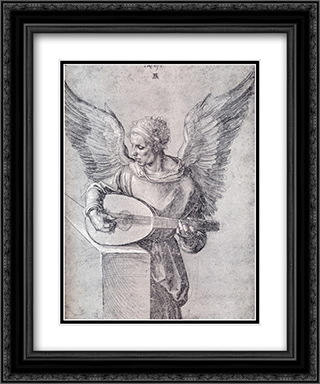 Winged Man, In Idealistic Clothing, Playing a Lute 20x24 Black or Gold Ornate Framed and Double Matted Art Print by Albrecht Durer