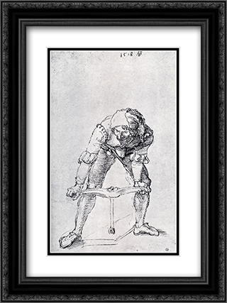 Young Man Leaning Forward And Working With A large Drill 18x24 Black or Gold Ornate Framed and Double Matted Art Print by Albrecht Durer