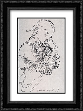 Durer's Wife Agnes 18x24 Black or Gold Ornate Framed and Double Matted Art Print by Albrecht Durer