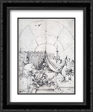 Lying-In Room 20x24 Black or Gold Ornate Framed and Double Matted Art Print by Albrecht Durer
