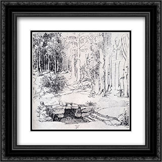 Forest Glade With A Walled Fountain By Which Two Men Are Sitting 20x20 Black or Gold Ornate Framed and Double Matted Art Print by Albrecht Durer