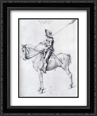 Man In Armor On Horseback 20x24 Black or Gold Ornate Framed and Double Matted Art Print by Albrecht Durer