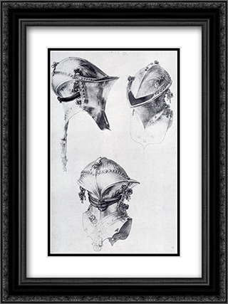 Side, Front, And Back View Of A Helmet 18x24 Black or Gold Ornate Framed and Double Matted Art Print by Albrecht Durer
