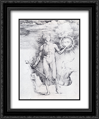 Apollo With The Solar Disc And Diana Trying To Shield Herself From The Rays With Her Uplifted Hand 20x24 Black or Gold Ornate Framed and Double Matted Art Print by Albrecht Durer