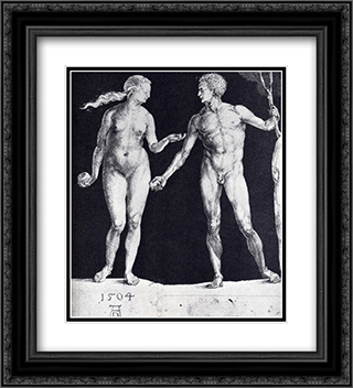 Idealistic Male And Female Figures 20x22 Black or Gold Ornate Framed and Double Matted Art Print by Albrecht Durer