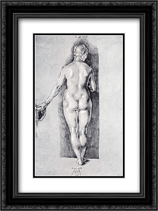 Rear View Of A Female Nude Holding A Cap 18x24 Black or Gold Ornate Framed and Double Matted Art Print by Albrecht Durer