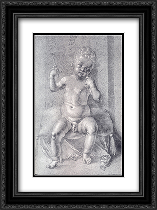 Seated Nude Child 18x24 Black or Gold Ornate Framed and Double Matted Art Print by Albrecht Durer