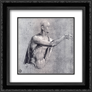 Male Nude, Half Length 20x20 Black or Gold Ornate Framed and Double Matted Art Print by Albrecht Durer