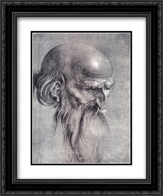 Head Of An Apostle Looking Downward 20x24 Black or Gold Ornate Framed and Double Matted Art Print by Albrecht Durer