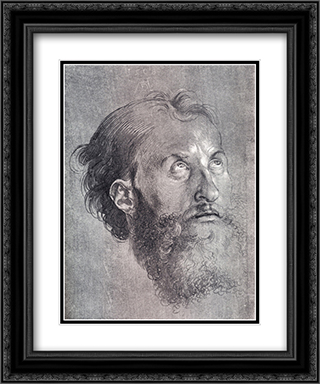 Head Of An Apostle Looking Upward 20x24 Black or Gold Ornate Framed and Double Matted Art Print by Albrecht Durer