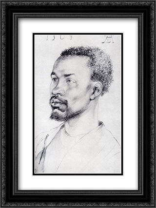 Head Of A Negro 18x24 Black or Gold Ornate Framed and Double Matted Art Print by Albrecht Durer