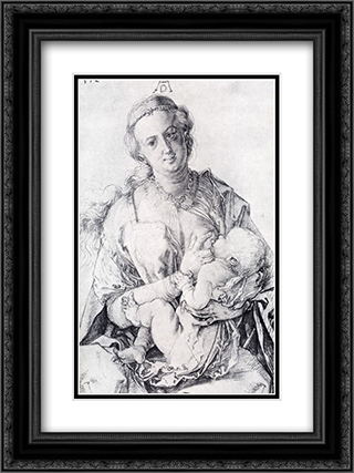 The Virgin Nursing The Child 18x24 Black or Gold Ornate Framed and Double Matted Art Print by Albrecht Durer