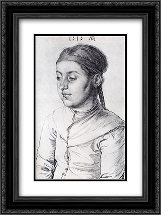 Portrait Of A Girl 18x24 Black or Gold Ornate Framed and Double Matted Art Print by Albrecht Durer