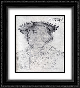 Emperor Maximilian I 20x22 Black or Gold Ornate Framed and Double Matted Art Print by Albrecht Durer