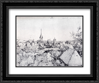 View Of Heroldsberg 24x20 Black or Gold Ornate Framed and Double Matted Art Print by Albrecht Durer