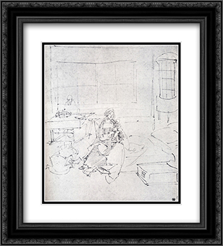The Holy Family In A Room 20x22 Black or Gold Ornate Framed and Double Matted Art Print by Albrecht Durer