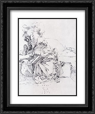 The Madonna And Child On A Grassy Bank 20x24 Black or Gold Ornate Framed and Double Matted Art Print by Albrecht Durer