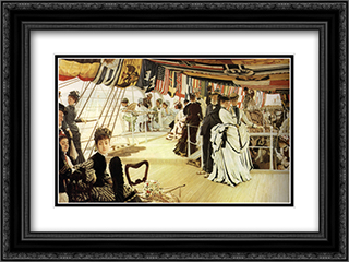 The Ball on Shipboard 24x18 Black or Gold Ornate Framed and Double Matted Art Print by James Tissot