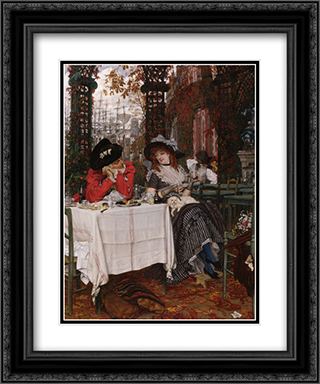 Un Dejeuner 20x24 Black or Gold Ornate Framed and Double Matted Art Print by James Tissot