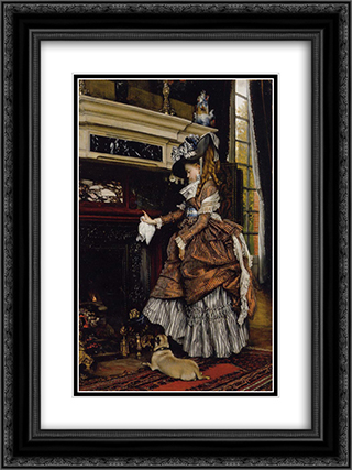 The Fireplace 18x24 Black or Gold Ornate Framed and Double Matted Art Print by James Tissot