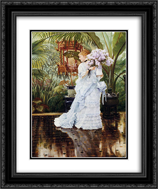 The Bunch of Violets 20x24 Black or Gold Ornate Framed and Double Matted Art Print by James Tissot