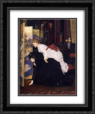 Young Women Looking at Japanese Objects 20x24 Black or Gold Ornate Framed and Double Matted Art Print by James Tissot