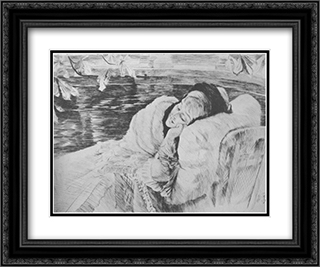 Une Convalescente 24x20 Black or Gold Ornate Framed and Double Matted Art Print by James Tissot