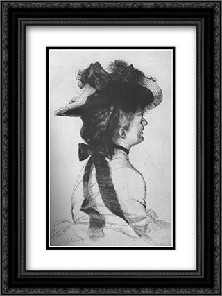 The Rubens Hat 18x24 Black or Gold Ornate Framed and Double Matted Art Print by James Tissot