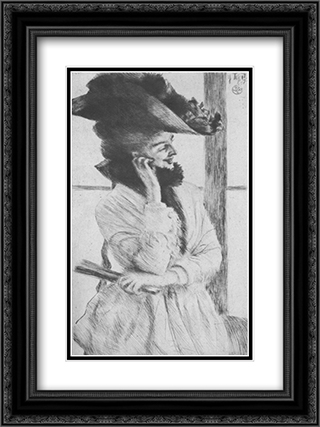 By the Window 18x24 Black or Gold Ornate Framed and Double Matted Art Print by James Tissot