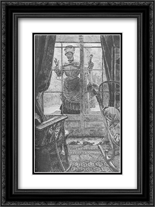 Femme a la fenetre 18x24 Black or Gold Ornate Framed and Double Matted Art Print by James Tissot