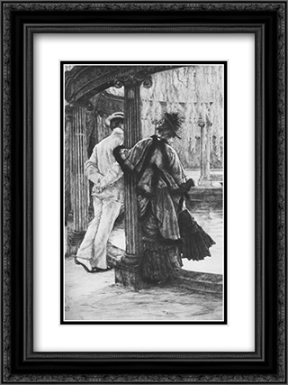 Lover's tiff 18x24 Black or Gold Ornate Framed and Double Matted Art Print by James Tissot