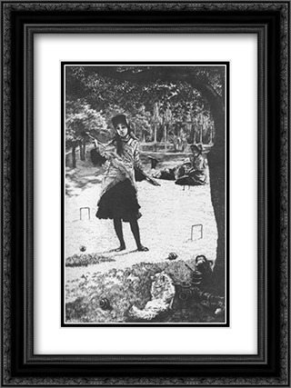Le croquet 18x24 Black or Gold Ornate Framed and Double Matted Art Print by James Tissot