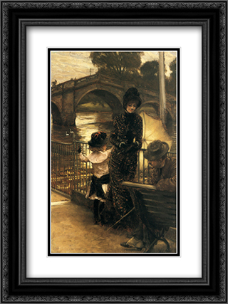 By the Thames at Richmond 18x24 Black or Gold Ornate Framed and Double Matted Art Print by James Tissot