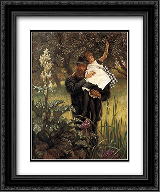 The Widower 20x24 Black or Gold Ornate Framed and Double Matted Art Print by James Tissot