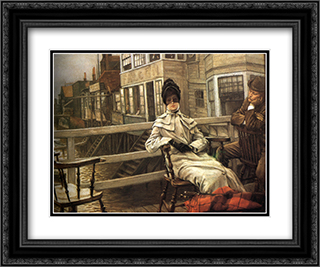 Waiting for the Ferry 24x20 Black or Gold Ornate Framed and Double Matted Art Print by James Tissot