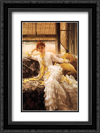 Spring 18x24 Black or Gold Ornate Framed and Double Matted Art Print by James Tissot
