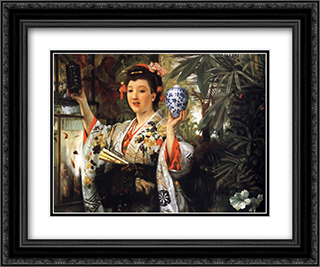 Young Lady Holding Japanese Objects 24x20 Black or Gold Ornate Framed and Double Matted Art Print by James Tissot