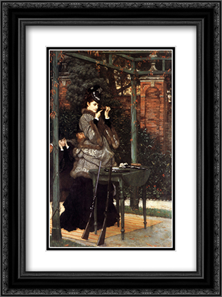At the Rifle Range 18x24 Black or Gold Ornate Framed and Double Matted Art Print by James Tissot