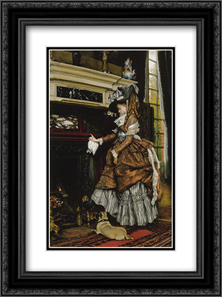 La cheminee 18x24 Black or Gold Ornate Framed and Double Matted Art Print by James Tissot