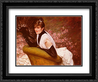 Portrait of a Woman at L'Eventail 24x20 Black or Gold Ornate Framed and Double Matted Art Print by James Tissot