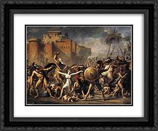 The Intervention of the Sabine Women 24x20 Black or Gold Ornate Framed and Double Matted Art Print by Jacques Louis David