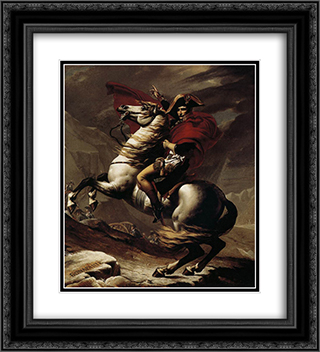 Bonaparte, Calm on a Fiery Steed, Crossing the Alps 20x22 Black or Gold Ornate Framed and Double Matted Art Print by Jacques Louis David