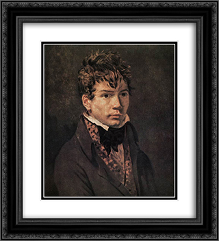 Portrait of Ingres 20x22 Black or Gold Ornate Framed and Double Matted Art Print by Jacques Louis David