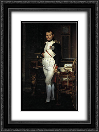 Napoleon in his Study 18x24 Black or Gold Ornate Framed and Double Matted Art Print by Jacques Louis David