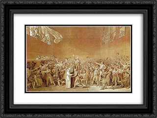 The Oath of the Tennis Court 24x18 Black or Gold Ornate Framed and Double Matted Art Print by Jacques Louis David