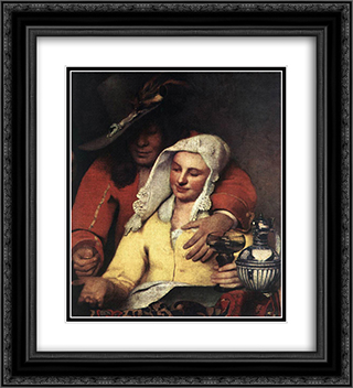 The Procuress [detail: 1] 20x22 Black or Gold Ornate Framed and Double Matted Art Print by Johannes Vermeer