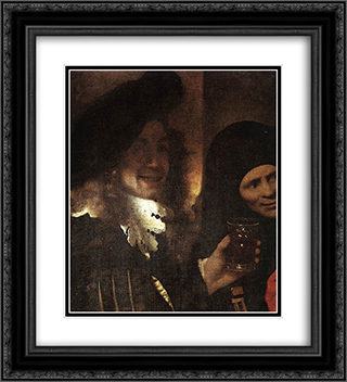 The Procuress [detail: 2] 20x22 Black or Gold Ornate Framed and Double Matted Art Print by Johannes Vermeer