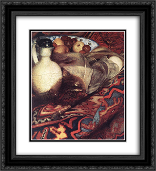 A Woman Asleep at Table [detail: 3] 20x22 Black or Gold Ornate Framed and Double Matted Art Print by Johannes Vermeer