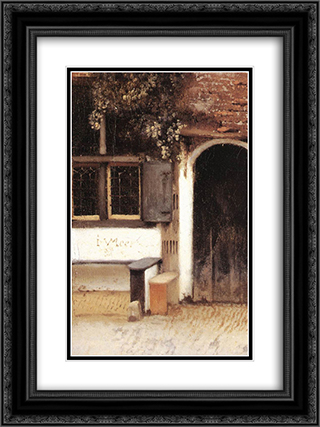 The Little Street [detail: 1] 18x24 Black or Gold Ornate Framed and Double Matted Art Print by Johannes Vermeer