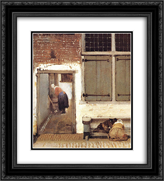 The Little Street [detail: 2] 20x22 Black or Gold Ornate Framed and Double Matted Art Print by Johannes Vermeer